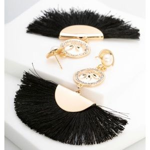 Sand dollar + black fringe chandelier earrings